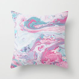 Marbled Spring | Marbled Painting | Swirl Throw Pillow