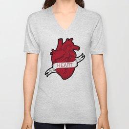 Human heart  tattoo style Unisex V-Neck