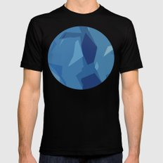 Blue Abstract Map MEDIUM Black Mens Fitted Tee