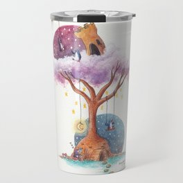 Penguins and Their Dream Tree with Castle Above and Igloo Below Travel Mug