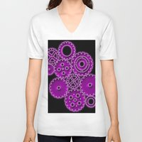 gears of war V-neck T-shirts featuring Purple Gears by WIGEGA