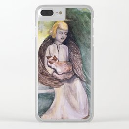 Angel with cat watercolor Clear iPhone Case