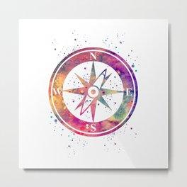 Compass Art Colorful Purple Art Gift Nautical Lovers Travel Art Gifts Metal Print