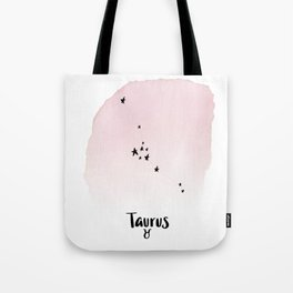Taurus Star sign, Constellation, Astrology, Horoscope, Zodiac PinkWatercolor Tote Bag
