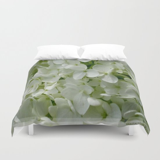 White Hydrangia Blossom Duvet Cover