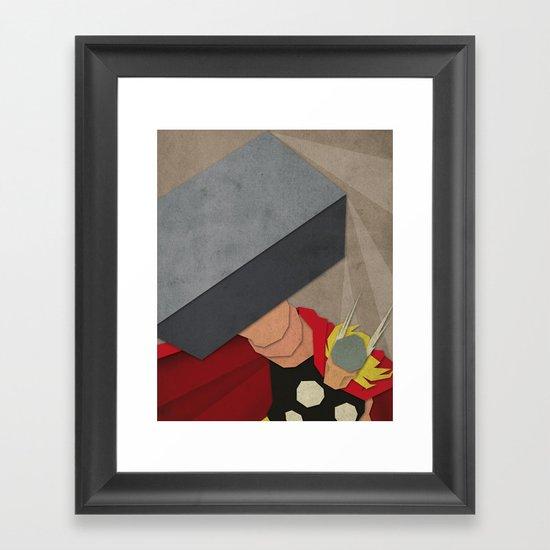 Paper Heroes - Thor Framed Art Print