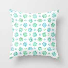 Trendy modern turquoise teal cute cactus pattern Throw Pillow