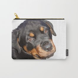 Female Rottweiler Puppy Making Eye Contact Vector Isolated Carry-All Pouch