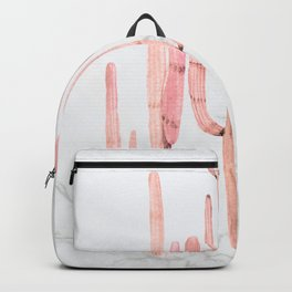 Cactus Trio Marble Pink Watercolor by Nature Magick Backpack