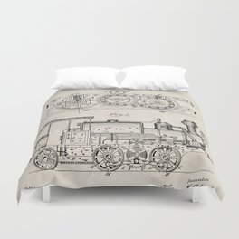 Steam Train Patent - Steam Locomotive Art - Antique Duvet Cover