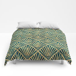 Stylish geometric diamond palm art deco inspired Comforters