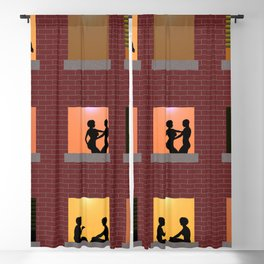 Multi Storey Apartment Windows at Night Blackout Curtain