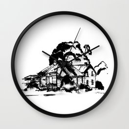 Country Homestead in Indian Ink Wall Clock