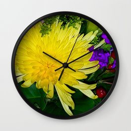 Yellow and Purple flowers Wall Clock