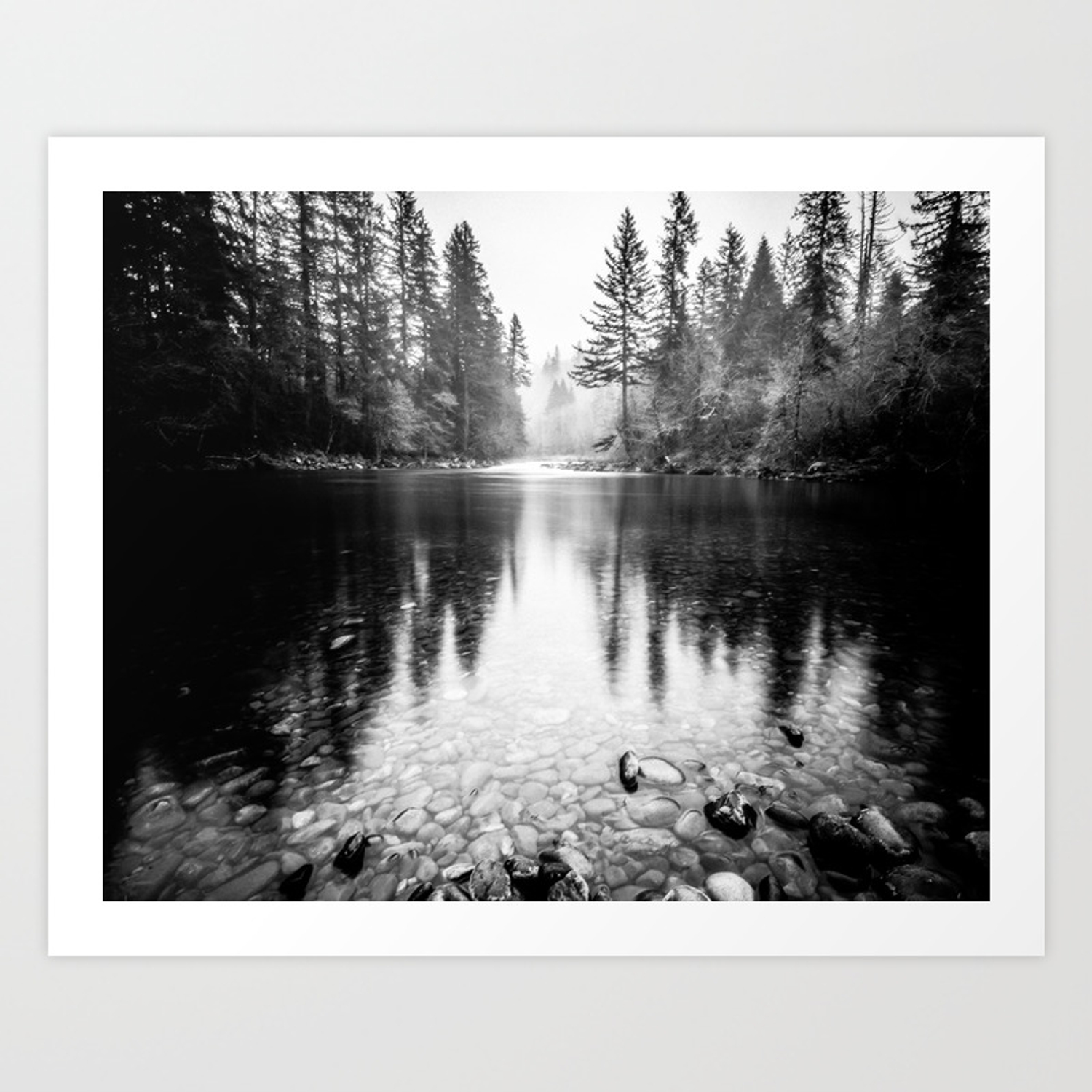 Forest reflection lake black and white nature photography art print by cascadia society6