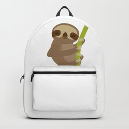 funny and cute smiling Three-toed sloth on green branch Backpack