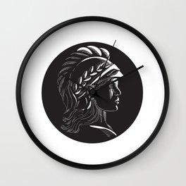 Minerva Head Side Profile Oval Woodcut Wall Clock