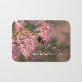 Nature bee on pink flowers Bath Mat