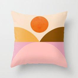 Abstraction_SUNSET_Mountains_ART_Minimalism_001 Throw Pillow