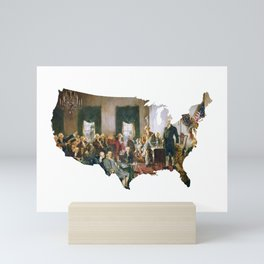 USA MAP The Signing of the Constitution of the United States Mini Art Print