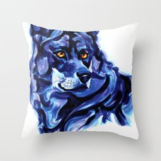 Blue Wolf Throw Pillow