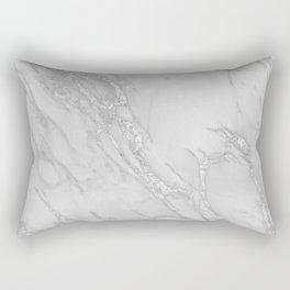Marble Love Silver Metallic Rectangular Pillow