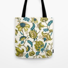 Green and Blue Indian Floral Tote Bag