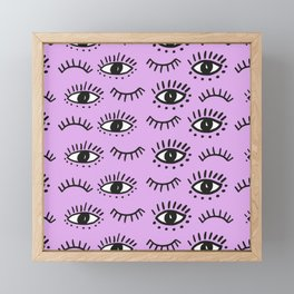 Hand drawn Eyes Pattern - Purple Framed Mini Art Print
