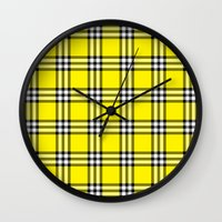 clueless Wall Clocks featuring As If Plaid by Kat Mun