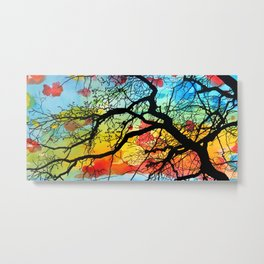 Painting Colorful Landscape Trees Nature Metal Print