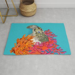 Sea turtle in Coral Rug