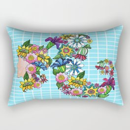 Blooming on Turquoise Rectangular Pillow