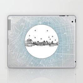 Brooklyn, New York City Skyline Illustration Drawing Laptop & iPad Skin