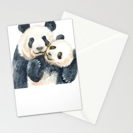 Mother and Baby Animals Watercolor Panda Mom and Panda Baby Stationery Cards