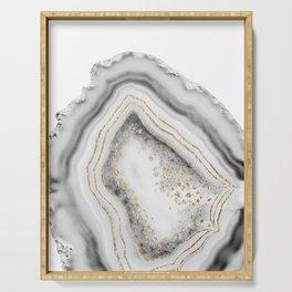 White Agate Gold Foil Glam #1 #gem #decor #art #society6 Serving Tray