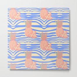 Zebra and pineapple Metal Print