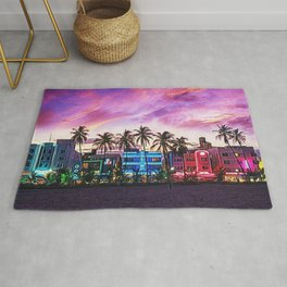 South Beach, Miami Lummas Park Twilight Pink Sunset landscape painting by Jeanpaul Ferro Rug