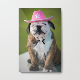 Cowgirl Puppy Metal Print