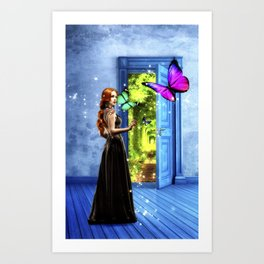 Red Head - Through The Door To Worlds Unknown Art Print