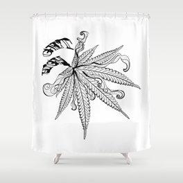 Marijuana leaf with smoke Shower Curtain