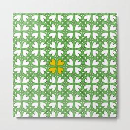 Clover Hearts Pattern Metal Print