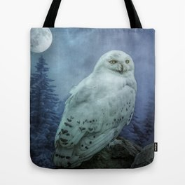 Moonlit Snowy Owl Tote Bag
