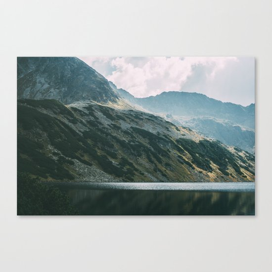 Moody Mountain Hill And Lake Canvas Print