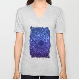 Sci Fi Abstract Outer Space Universe  Mystic Blue Unisex V-Neck