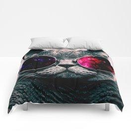 sunglasses cat Comforters