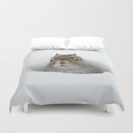 Cute Pop-up Squirrel in the Snow Duvet Cover