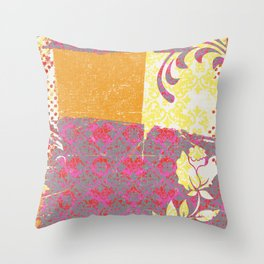 Crayon Bright Rose Pink Collage Love Throw Pillow