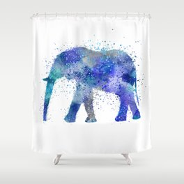 Blue Watercolor Elephant Shower Curtain