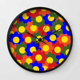 Colorful Flowers Red Blue Green Orange Wall Clock
