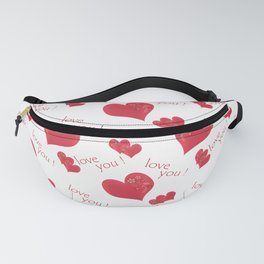Abstract pattern with red hearts on a white background Fanny Pack